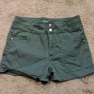 Olive high waist stretch shorts